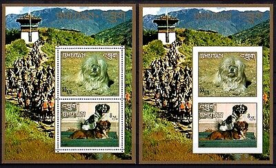 Bhutan - 1973 - Dogs - Lhasa Apso - Damci - Perf + Imperf - Mint S/sheets!