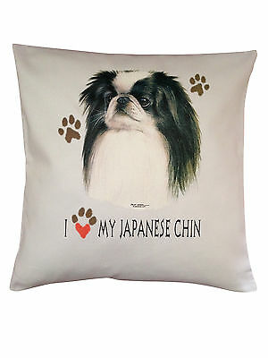 Japanese Chin Heart Breed of Dog Cotton Cushion Cover - Perfect Gift
