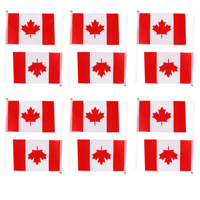 12x Small Hand Waving Canadian Canada Flags Maple Leaf Pole Banners Olympic