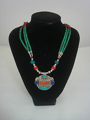 Ethnic Afghan bead necklace. Gorgeous! Silver turquoise coral red blue green