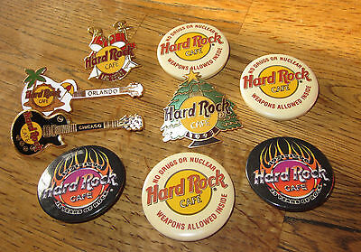 Hard Rock Cafe- Lot of 9 Pinbacks