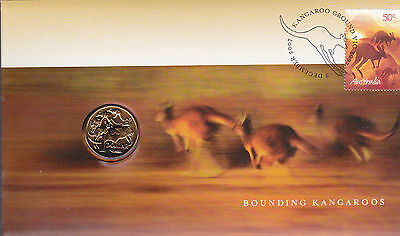 2007 Bounding Kangaroos FDC/PNC with Limited Edition $1 Coin