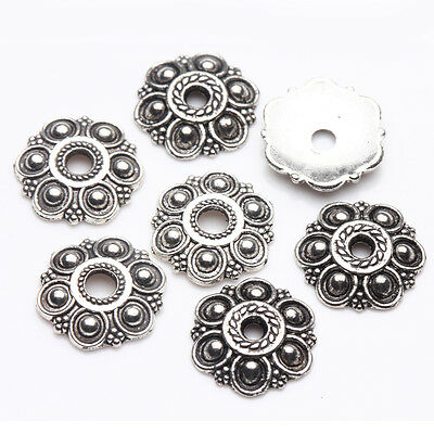 25/50Pcs Silver Plated Making Necklace Bracelet Flower Spacer Bead Caps 13*2mm