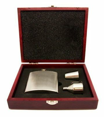 Personalised 8oz Hip Flask Funnel And Shot Cups Set With Wooden Box, Engraved