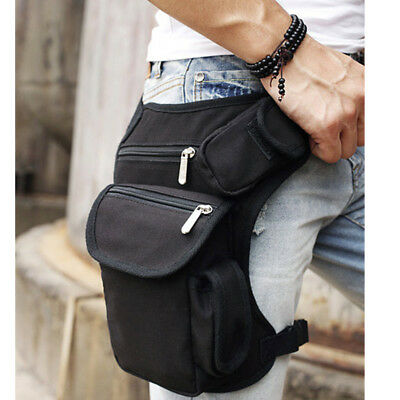 Outdoor Hiking Motorcycle Riding Fanny Waist Belt Bag Thigh Drop Leg Bag Black
