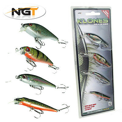 NGT 4 Pack Klone Fishing Plugs Perch, Roach, Trout & Pike Predator Lures