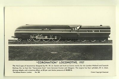 ry434 - LMS Railway Engine no 6220 Coronation - postcard