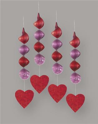 Valentines Day Swirl Hearts Hanging Decorations x 4