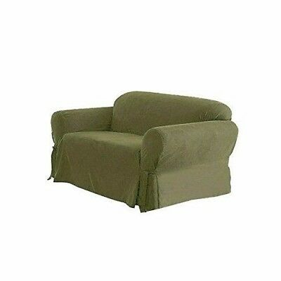 Chezmoi Collection Soft Heavyweight MicroSuede Slipcover Loveseat, Sage Green