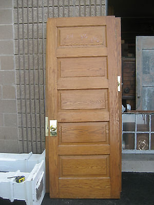 "circa 1900 SOLID oak PANELED door CHICAGO brownstone 84"" x 32"" x 1 3/8"""