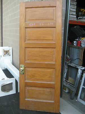 "circa 1900 SOLID oak PANELED door CHICAGO brownstone 83.5"" x 32"" x 1.75"""