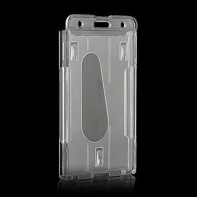 Vertical Hard Plastic Badge Holder Double Card ID Transparent Case 10x6cm Hot  E
