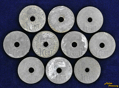 French Indochina 1 Cent 1941 Vichy Government Lot Of 10 Coin Km#24.3 Zinc Vf