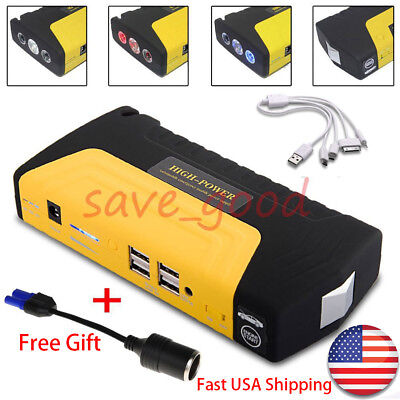 68800mAh 4USB LED Car Jump Starter Emergency Charger Booster Power Bank Battery