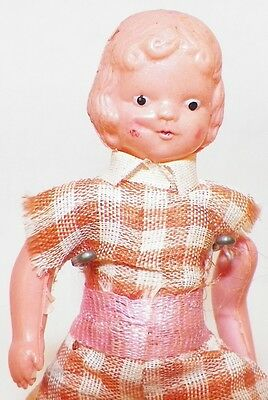 Little Girl Celluloid Dollhouse Doll Plaid Romper Red Painted Shoes Vintage CUTE