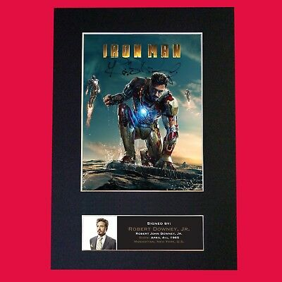 IRON MAN Robert Downey Jr Signed Mounted Autograph Photo Print (A4) No587