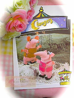 LARGE PRINT VERSION Knitting Pattern For Large & Small Clanger. Just £1.09 !!!