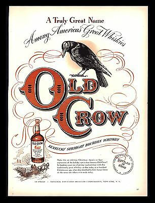 "Original 1948 ""old Crow Whiskey""  Black Crow  Kentucky 1842  Art Print Ad"