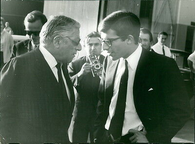Vintage photo of Alexander Onassis with his father Aristotle Onassis.  -
