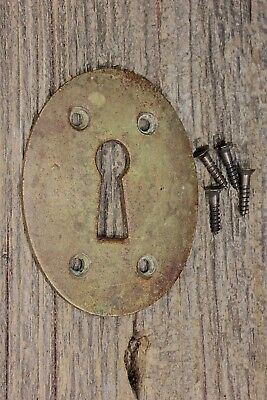 "Oval Keyhole door Lock Escutcheon plate old brass 2 7/8"" vintage 1800's skeleton"