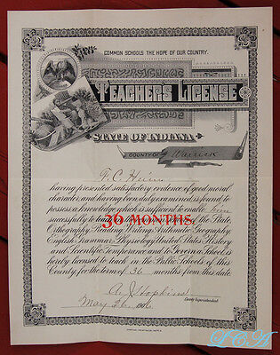 1906 STATE of INDIANA TEACHER'S LICENSE Warrick County BOONVILLE Hopkins Heim