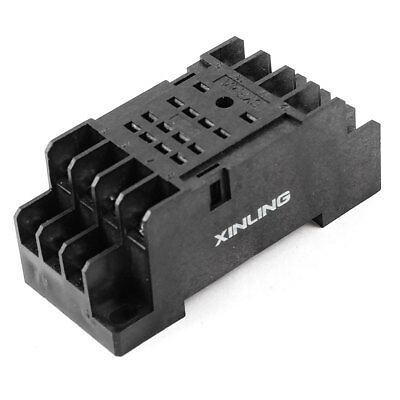 PYF14A 35mm DIN Rail Relay Socket Base 14 Pins Black for HH54P