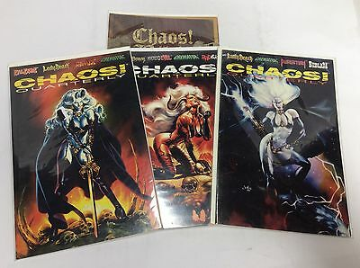 CHAOS QUARTERLY#1-3 (CHAOS/LadyDeath/Evil Ernie/0615183) COMIC BOOK SET LOT OF 4