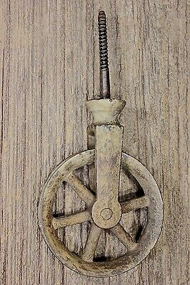 "screw Pulley 2 7/8"" spoke wheel cast iron vintage rustic barn paint old antique"