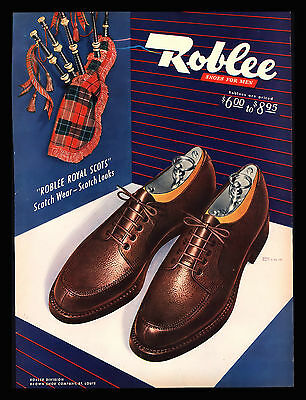 """Vintage 1948 Roblee Shoes """"roblee Royal Scots"""" Scotch Wear Looks  Art Print Ad"""