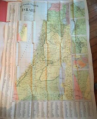 Rare Vintage 1949 The Jewish Chronicle Map Of Israel Judaica Alexander Gross