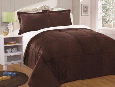 Chezmoi Collection 3pc Sherpa Down Alternative Comforter Queen, Chocolate Brown