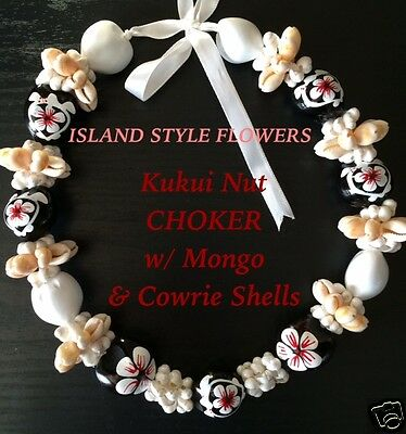 Hawaii Wedding Kukui Nut Lei w/ Mongo &Cowrie Shell Graduation Luau CHOKER-White