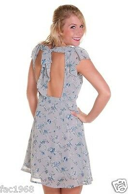 Jarlo Edie Greyish Blue Floral Print Cut Out Back Mini Dress UK 8 10 12 14 New
