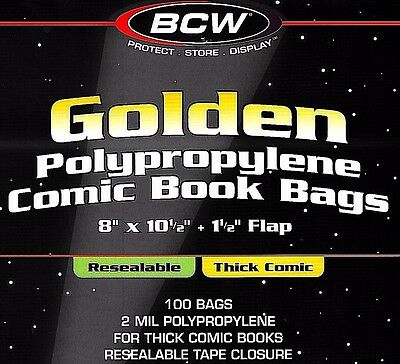 100 BCW Golden Resealable Thick Bags and Boards Archival Comic Book Storage