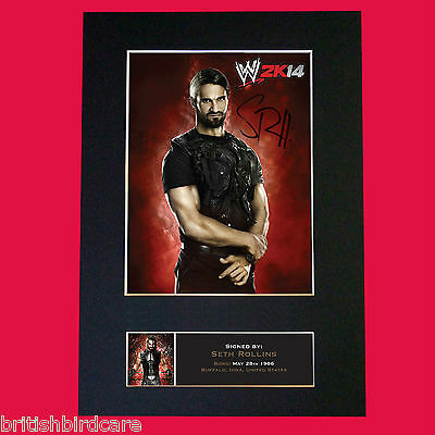 SETH ROLLINS WWE Quality Autograph Mounted Photo Repro Print A4 588