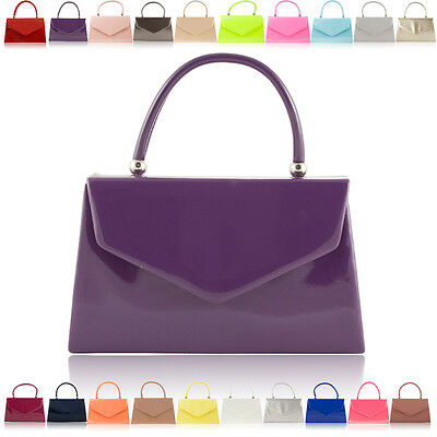 Ladies Girls Small Faux Patent Leather Handbags Women Evening Party Prom Clutch
