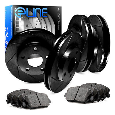 2 FRONT + 2 REAR Black Hart *DRILLED /& SLOTTED* Disc Brake Rotors C1101