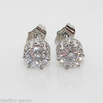 6mm Created Diamond Silver Crown Design Stud Earrings White Gold Plated Studs