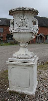 Very Large Stone Urn on Base - Stunning Garden / Drive Statuary - 227cm High • CAD $2,403.31