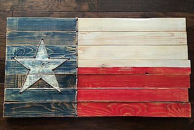 "Texas State Flag Wood  37"" x 20"" Wooden Rustic"