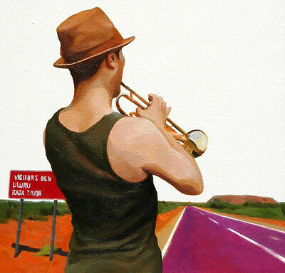Oil painting A person's holiday young man playing trumpet free shipping canvas