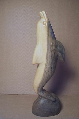 "Wooden Dolphin Figure - Beautifully Hand Carved - Lovely Wood Grain - 8-1/4"" T"