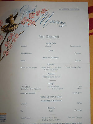 Menu Paquebot S/S queen frederica , national hellenic american line