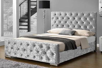 Luxury Crushed Velvet Bed Frame / Chenile Fabric Bed Frame Double King Size