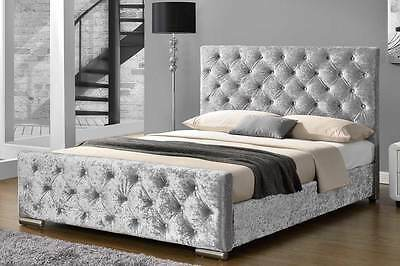 Luxury Silver Crushed Velvet, Grey, Mink Upholstered Bed Frame Double King Size