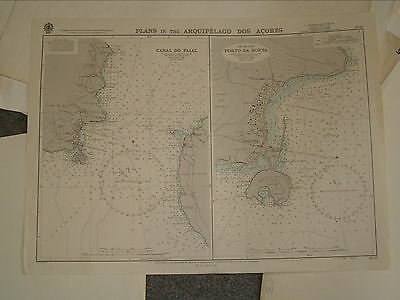 Vintage Admiralty Chart 1940 PLANS IN THE ARQUIPELAGO DOS ACORES 1969 edn