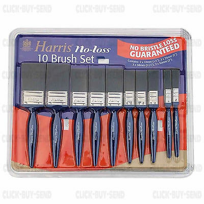 Harris No Bristle Loss 10 Paint Brush Set Brushes 12 Mm To 50 Mm Painting New
