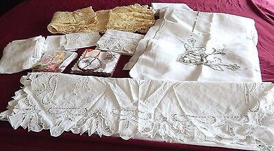 Huge Lot Vintage Lace Embroidery Napkins Table Covers Linens  Coasters Runners