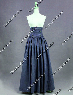 NAVY BLUE Edwardian Victorian Downton Abbey Walking Skirt Theater Costume K187