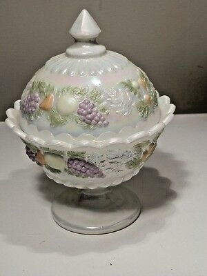 Westmoreland Della Robbia Pearlized Candy Dish & Lid Hand Painted Fruit Mint